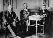 Gustav Stresemann, Austen Chamberlain und Aristide Briand