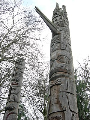 Burke Museum of Natural History and Culture - Totem poles outside the Burke Museum