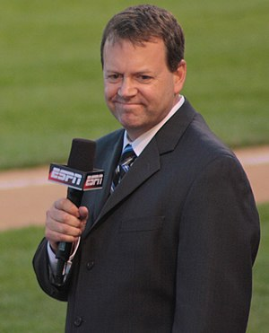 English: ESPN's Buster Olney on the field for ...