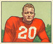 Illustration from a football card of Ramsey in a red jersey with the number 20 on the front