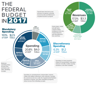 Political debates about the United States federal budget - CBO: U.S. Federal spending and revenue components for fiscal year 2017. Major expenditure categories are healthcare, Social Security, and defense; income and payroll taxes are the primary revenue sources.