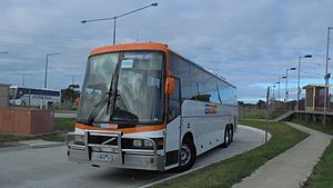 """CDC Geelong - CDC Geelong Volvo B12R PMCA """"Apollo"""" seen at Marshall Station in March 2016."""