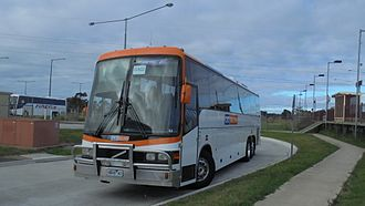 "CDC Geelong - CDC Geelong Volvo B12R PMCA ""Apollo"" seen at Marshall Station in March 2016."