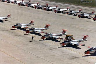 Canadair CT-114 Tutor - CT-114 Tutors belonging to 2 Canadian Forces Flying Training School parked on the ramp at CFB Moose Jaw, 1982