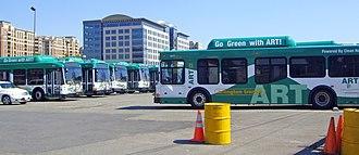 Arlington Transit - ART fleet of CNG-powered buses at Crystal City yard.