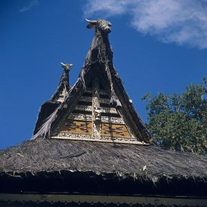 Simalungun people - Roof of a rumah bolon, the house of a Simalungun Batak raja and his family.