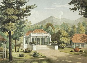 Istana Cipanas - Watercolor Lithography of Cipanas Palace as the residence of Dutch East Indies Governor-generals in 1880 by Josias Cornelis Rappard