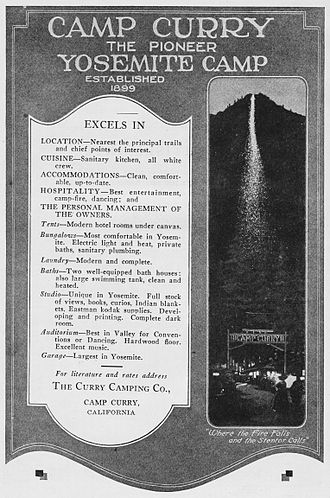 "Ahwahnee Hotel - David and Jennie Curry's ad for the ""Firefall"""