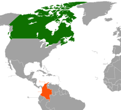 Map indicating locations of Canada and Colombia