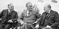 Mackenzie King, Franklin Roosevelt and Winston Churchill at the Quebec Conference, 18 August 1943