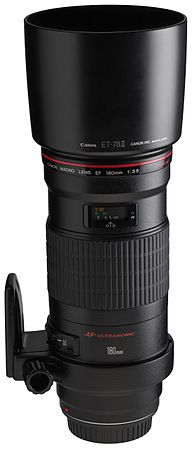 Canon EF 180mm f3.5L Macro USM front angled with tripod ring rotated with hood.jpg
