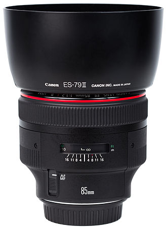 Canon EF 85mm lens - The Canon EF 85mm f1.2L II USM, with its included hood in place