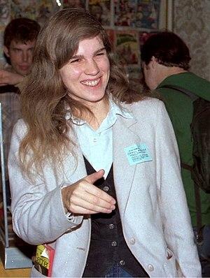 Carol Kalish - Carol Kalish talking to Cat Yronwode at the October, 1982 Minneapolis Comic-Con.