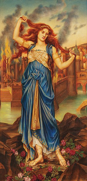Cassandra - Cassandra by Evelyn De Morgan (1898, London); Cassandra in front of the burning city of Troy at the peak of her insanity.