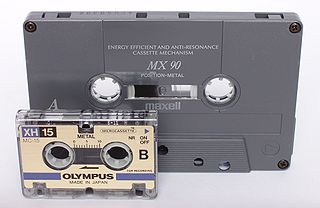 Microcassette magnetic tape based audio storage medium introduced by Olympus in 1969