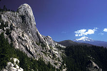 A cliff of gray serrated rock, on the left, towers above a pine forest before the distant form of a snowcapped mountain.