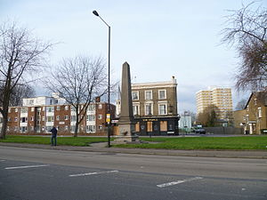 Bounds Green Road - Bounds Green Road with the Catharine Smithies obelisk and drinking fountain in the background.
