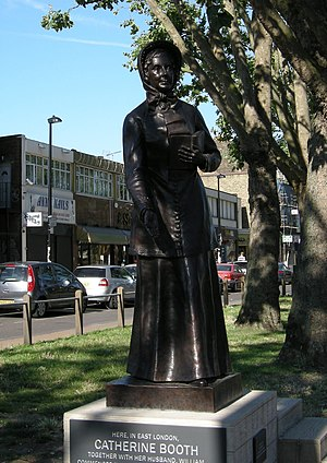Catherine Booth - Statue of Catherine Booth in the Mile End Road, London, close to the site of the first Salvation Army meeting. The statue was donated by the women of the Salvation Army in the United States in 2015 to mark the Army's 150th anniversary.