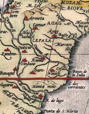 "Portuguese expedition to Sofala (Anaia, 1505) - Sofala (""Cefala"") from the atlas ""Africae tabula nova"", of Abraham Ortelius (Antwerp, 1570)."