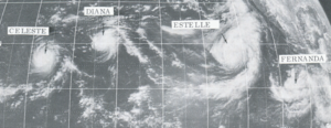 1972 Pacific hurricane season - This ATS 1 weather satellite image of Tropical Cyclones Celeste, Diana, Estelle, and Fernanda was taken on August 18, 1972