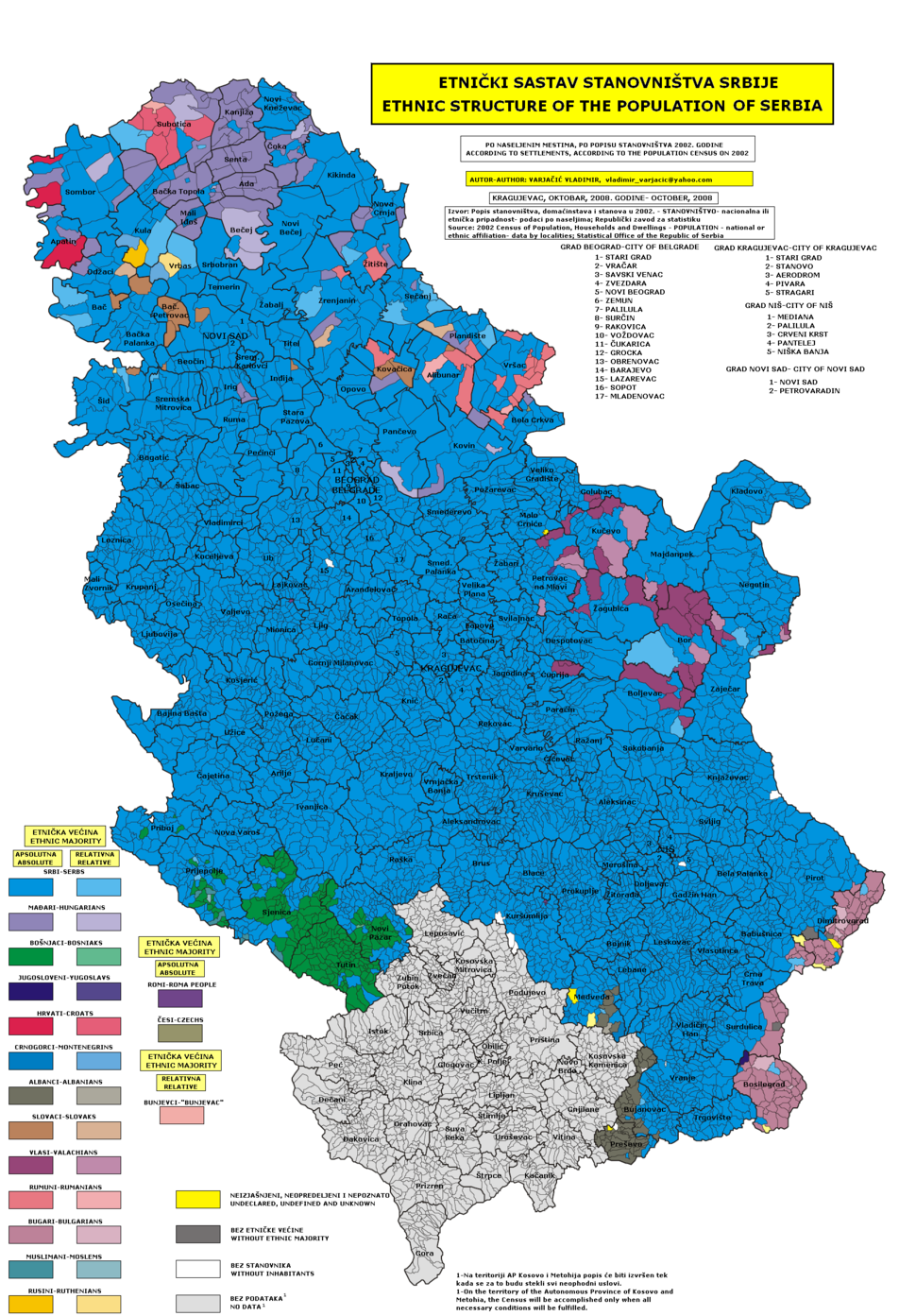 Census 2002 Serbia, ethnic map (by localities)