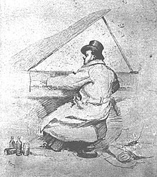 sketch of a man in top hat and overcoat vigorously playing a grand piano