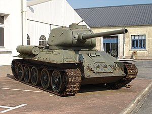 A T-34-85 tank on display at Musée des Blindés in April 2007.