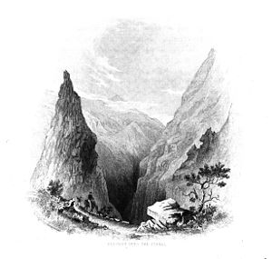 Curral das Freiras - Charles Wilkes (1798-1877) - Descent into the Curral das Freiras - Narrative of the United States Exploring Expedition during the years 1838, 1839, 1840, 1841, 1842. Volume 1, 1845