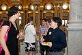 Chatting at Wikimania 2012 Opening Reception.jpg