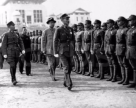 Chiang Kai-Shek was having a parade before the Japanese Army invaded Wuhan Chiang Kai-Shek in Wuhan University.jpg