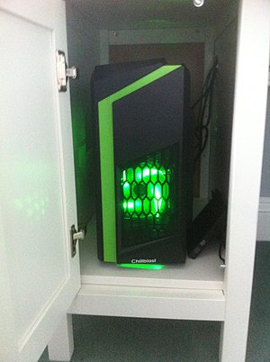 Gaming computer - An example of a pre-built Gaming computer, a Chillblast Fusion Tracer, showing the case lighting used for the rig.