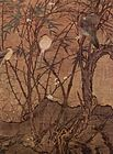 A portrait oriented painting of four birds perched on a set of vertical branches originating from the same short tree. A fifth bird is hiding behind the base of the tree.