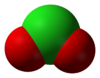 Space-filling model of the chlorite anion