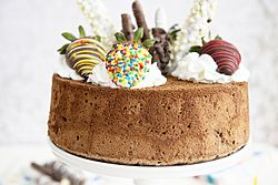 Chocolate angel food cake with various toppings.jpg