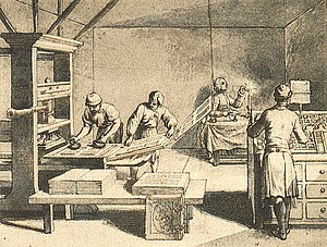 Frisket - An 18th-century printing shop showing the parts of a hand press when they are opened out. The frisket is the right-most portion of the press, with four openings for the pages to be printed. The middle, with the printed sheet on it, is the tympan, and at left, the bed which holds the type being inked.