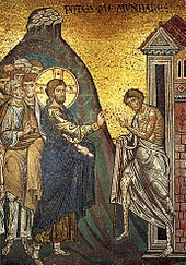 Jesus, his head surrounded by a halo, puts his hands on a leper, thereby healing him.