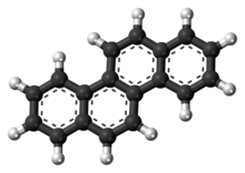 Ball-and-stick model of the chrysene molecule