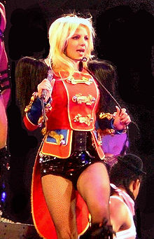 "Spears performing ""Circus"" on her 2009 world tour."