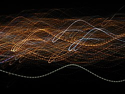 City lights viewed in a motion blurred exposure. The AC blinking causes the lines to be dotted rather than continuous.