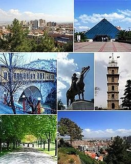 Top left: City centre, Top right: Zafer Plaza AVM;Middle left: Irgandı Bridge, Middle: Statue of Atatürk, Middle right: Bursa Clock Tower;Bottom left: Bursa Botanical Park, Bottom right: City centre