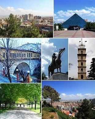 """<strong>Top left:</strong> City center, <strong>Top right:</strong> Zafer Plaza AVM;<br class=""""prcLst"""" /><strong>Middle left:</strong> Irgandı Bridge, <strong>Middle:</strong> Statue of <a href=""""http://search.lycos.com/web/?_z=0&q=%22Mustafa%20Kemal%20Atat%C3%BCrk%22"""">Atatürk</a>, <strong>Middle right:</strong> Bursa Clock Tower;<br class=""""prcLst"""" /><strong>Bottom left:</strong> Bursa Botanical Park, <strong>Bottom right:</strong> City center"""