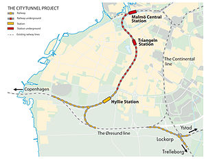 City Tunnel (Malmö) - Location of the tunnel and the new stations