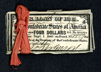 "Red tape - American Civil War ""Red Tape"" binding redeemed Confederate States of America bond coupons"