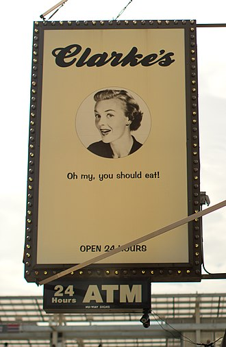 Camp (style) - The banner of a diner featuring a 1950s-era camp advertisement