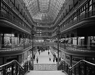 Cleveland Arcade - Interior of The Arcade in downtown Cleveland, looking south toward Euclid Avenue; March 7, 1966