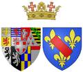 Coat of arms of Marie de Bourbon (Countess of Soissons in her own right) as Princess of Carignan.png