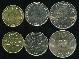Equatorial Guinean ekwele - This series of ekwele coins was only minted in 1975 but was in use until 1981.