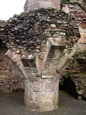 Coity Castle - Remains of central octagonal pier for the vaults of Coity Castle