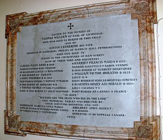 Thomas Anson, 1st Earl of Lichfield - Anson family memorial at St Michael and All Angels Church in Colwich