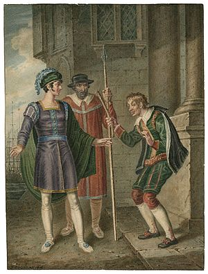 The Comedy of Errors - An 1816 watercolor of Act IV, Scene i: Antipholus of Ephesus, an officer, and Dromio of Ephesus.